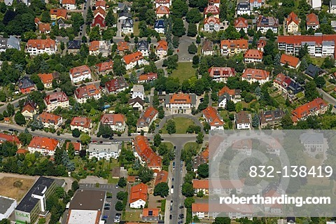 Aerial view, housing estate, Am Hopfenberg street, Erfurt, Thuringia, Germany, Europe