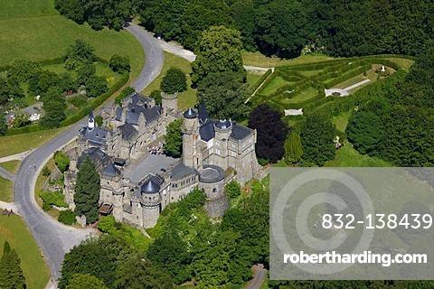 Aerial view, Loewenburg castle, Bergpark Wilhelmshoehe park, Kassel, Hesse, Germany, Europe