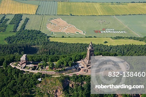 Aerial view, Kyffhaeuser Monument on Kyffhaeuser Mountain, at the rear, advertising in a field, Steinthaleben, Thuringia, Germany, Europe