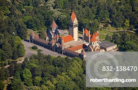 Aerial view, chapel complex with bell tower, Southern Cemetery, Leipzig, Saxony, Germany, Europe