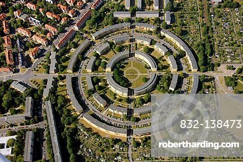 Aerial view, round housing estate, Loessnig, Connewitz, Leipzig, Saxony, Germany, Europe