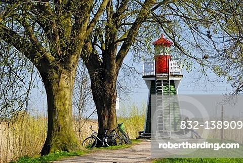 Lighthouse on Bunthaeuser Spitze in Moorwerder, Hamburg, Germany, Europe