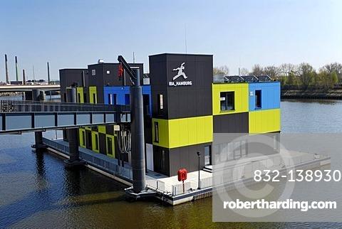 Information centre IBA Dock in the Mueggenburger Zollhafen customs harbor in Veddel district, Hamburg, Germany, Europa