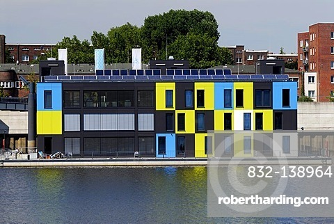 Information centre, IBA dock, in Mueggenburg Customs Port in Veddel, Hamburg, Germany, Europe