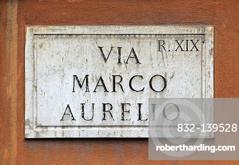 Street sign, Via Marco Aurelio, Rome, Italy, Europe