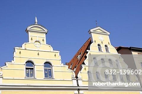 Row of houses in Wismar, Mecklenburg-Western Pomerania, Germany, Europe