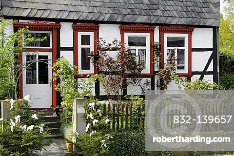 Half-timbered house with a front garden in Goslar, Lower Saxony, Germany, Europe