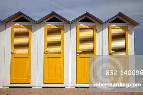 Changing cabins on the beach, Noli, Italian Riviera, Liguria, Italy, Europe