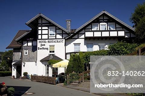 Hotel and Restaurant Zum Dorfkrug, Zueschen, Winterberg, Sauerland, North Rhine-Westphalia, Germany, Europe