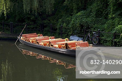 Tourist boat in the ferry terminal, Luebben, Spreewald, Spree Forest, Brandenburg, Germany, Europe