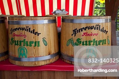 Market stall selling cucumbers, cucumber barrels, Luebbenau, Spreewald, Spree Forest, Brandenburg, Germany, Europe