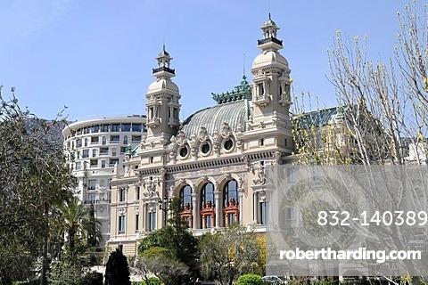 Back of the casino, Monte Carlo, Principality of Monaco, Cote d'Azur, Europe