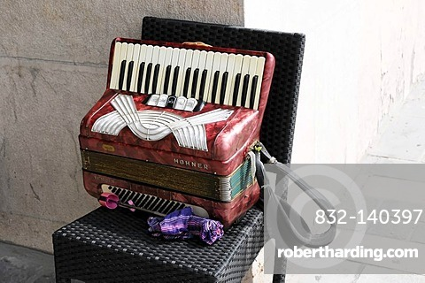 Accordion of a street musician, Nice, Cote d'Azur, France, Europe