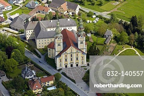 Maria Loreto Pilgrimage Church, aerial view, St. Andrae, Lavanttal Valley, Carinthia, Austria, Europe