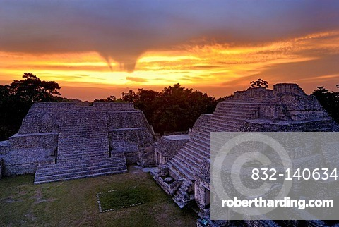 Mayan Temples of Caracol, pyramid, calendar, 2012, sunset, Belize, Central America