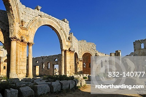 Byzantine ruin of the Church of Saint Simeon Stylites, Qal'at Sim'an, Qalaat Seman archeological site, Dead Cities, Syria, Middle East, West Asia