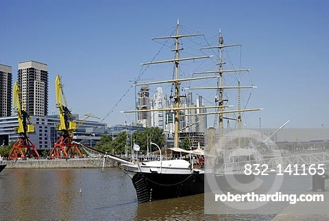 Uruguay Frigate, a museum ship in the old Puerto Madero harbor, Puerto Madero district, Buenos Aires, Argentina, South America