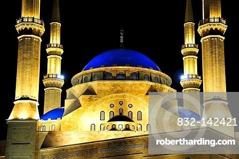 Khatem al-Anbiyaa Mosque at night, Beirut, Lebanon, Middle East, Orient