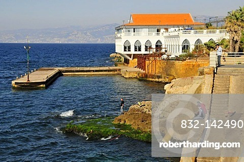 Anglers on the Corniche, Beirut, Lebanon, Middle East, Asia