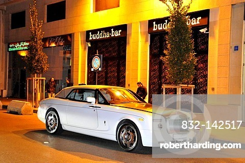 Rolls-Royce in front of the famous Buddha Bar night club, Beirut, Lebanon, Middle East, Orient
