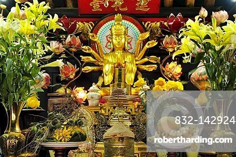 Altar inside the One Pillar Pagoda, Hanoi, Vietnam, Southeast Asia