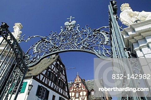 Old Town Hall in front of Schloss Engers Castle, Neuwied-Engers, Neuwied, Rhineland-Palatinate, Germany, Europe