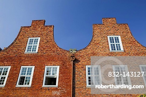 Lateral houses and gabled houses in the Hollaendische Viertel District, Potsdam, Brandenburg, Germany, Europe