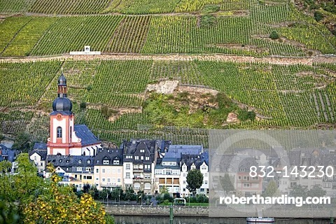 Romantic wine village of Zell on the Moselle River, Rhineland-Palatinate, Germany, Europe