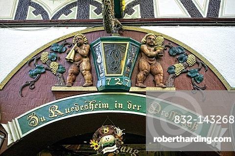 Pub in Drosselgasse lane, Ruedesheim am Rhein, Middle Rhine Valley, UNESCO World Heritage Site, Rhineland-Palatinate, Germany, Europe