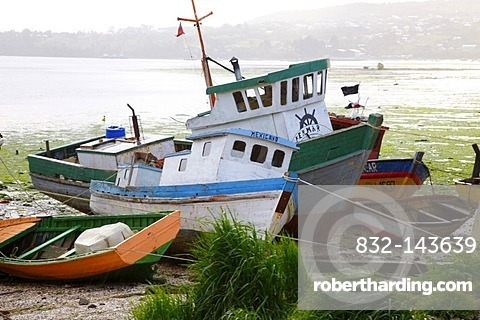 Fishing boats in the fishing port, Castro, Chiloe Island, Southern Chile, Chile, South America