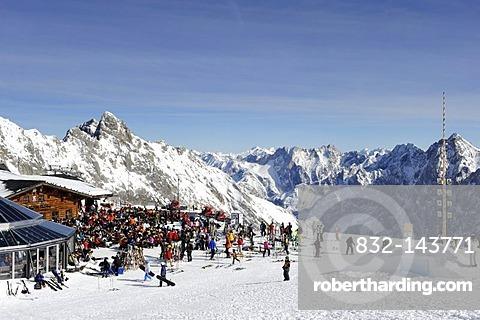 Restaurant Sonn Alpin on Mt. Zugspitze, Wettersteingebirge mountains, Werdenfels, Upper Bavaria, Bavaria, Germany, Europe