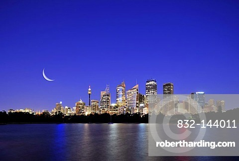 Skyline of Sydney, moon, TV Tower, Central Business District, night shot, Sydney, New South Wales, Australia