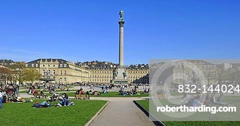 People gathered on Schlossplatz square, Jubilaeumssaeule column, Neues Schloss castle, Stuttgart, Baden-Wuerttemberg, Germany, Europe