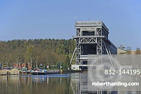 Niederfinow boat lift, lower entrance, Brandenburg, Germany, Europe