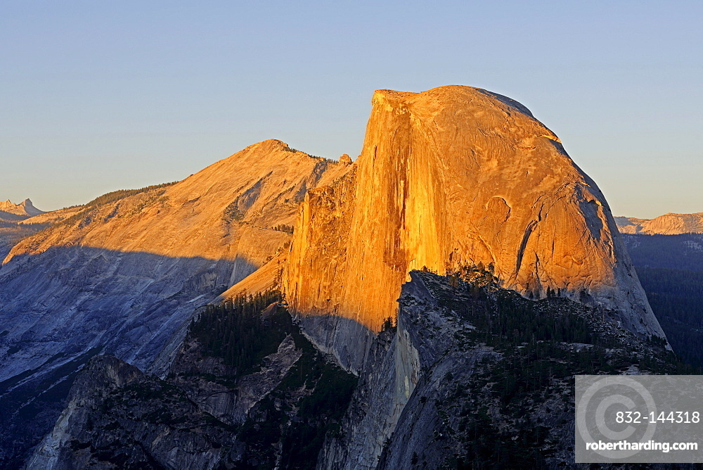 Half Dome in the last evening light, seen from Glacier Point, Yosemite National Park, California, USA, North America