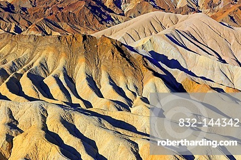 Rock formations on Zabriske Point in the morning light, Death Valley National Park, California, USA, North America