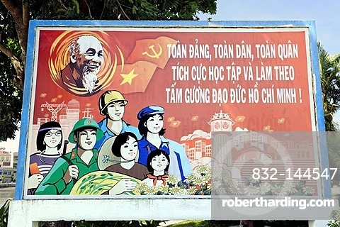 Political billboard with the portrait of Ho Chi Minh, Phan Thiet, South Vietnam, Southeast Asia