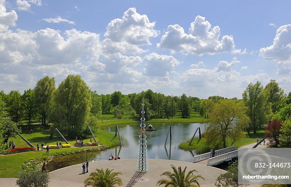 Kalenderplatz square, Britzer Garten, BUGA Park horticultural show gardens, Britz, Neukoelln district, Berlin, Germany, Europe