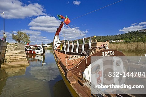 Historic fishing boats as tourist boats on the Rio Arade river, Silves, Algarve, Portugal, Europe