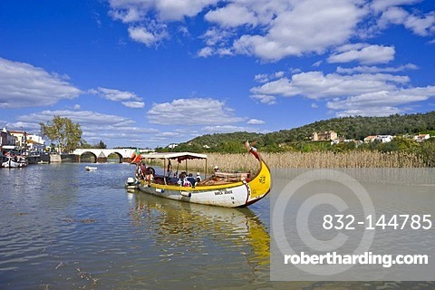 Historic fishing boat as a tourist boat on the Rio Arade river, Silves, Algarve, Portugal, Europe