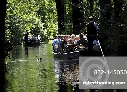 Boats with people in Spreewald region, Brandenburg, Germany, Europe