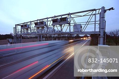 Tollgate, Autobahn Toll Collection, German highway A3 near Hamminkeln, Niederrhein, North Rhine-Westphalia, Germany, Europe