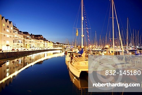 Sailboats in the marina, main port, St. Peter Port, Guernsey, Channel Islands, Europe