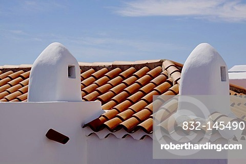 Roof with vents for air conditioning, La Gomera, Canary Islands, Spain, Europe