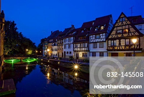 Half timbered houses at night, Colmar, Alsace, France