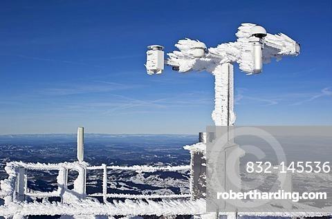 Frozen measure instrument overlooking Lake Constance, Mt. Saentis, Switzerland, Europe