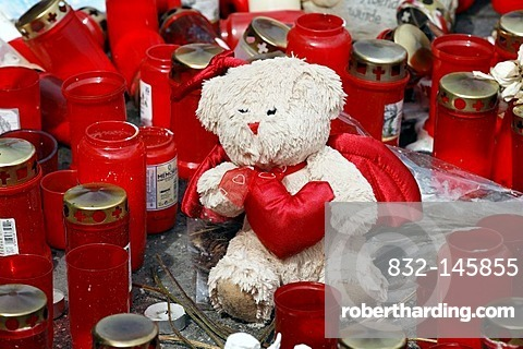 Teddy between candles to remember the victims of the crowd crush at the Loveparade 2010, Duisburg, North Rhine-Westphalia, Germany, Europe