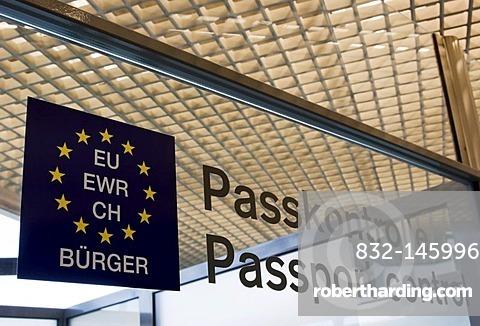 Passport control area at an airport