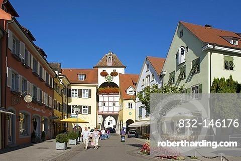 City gate in the Unterstadt area of Meersburg, Lake Constance, Baden-Wuerttemberg, Germany, Europe