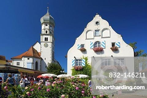 Parish church in Wasserburg am Bodensee, Lake Constance, Baden-Wuerttemberg, Germany, Europe